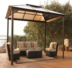Fashionable Rectangular Comfort Canopy Decors With Slopping Roof Set Small Rattan Coffee Table And Sofa