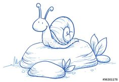 Vector: Cute little cartoon snail on a rock. For children or baby shower cards. Hand drawn vector illustration.