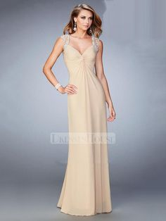 Cap Sleeves and Back both Sheer Beaded Lace Applique Chiffon Prom Dress PD12159