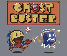 PacMan, the original ghostbuster. Retro Video Games, Video Game Art, Retro Games, Skullgirls, Pec Man, Die Geisterjäger, The Real Ghostbusters, Retro Arcade, Ghost Busters