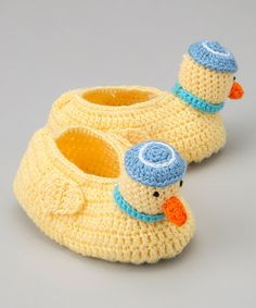 Take a look at this Yellow & Blue Duck Crochet Booties by Best of Chums on #zulily today!