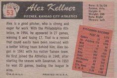 1955 Bowman #53 Alex Kellner Back