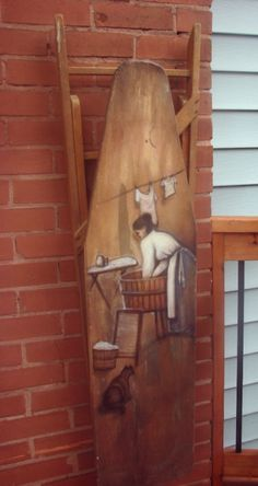 Laundry Day - painting on an old ironing board