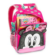 Disney Deluxe Minnie Mouse Pink Black Polka Dot Cute Girls Backpack for sale online Minnie Mouse Toys, Minnie Mouse Backpack, Cute Girl Backpacks, Backpacks For Sale, Interior Accessories, Girls Accessories, Minnie Mouse Images, Disney Merchandise, Camping With Kids