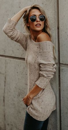#winter #outfits brown off-shoulder long-sleeve top and silver-framed sunglasses