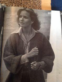 Large collar, over cardigan  Vogue 1976