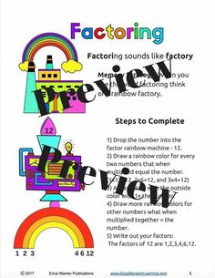Fun Factoring in Math and with Multiples.  Come learn factoring and multiples with embedded memory strategies, coloring activities, step by step instruction, practice problems, and interactive games so that students can practice their new knowledge while having fun. Teaching Activities, Color Activities, Teacher Resources, Memory Strategies, Teaching Strategies, Learning Process, Fun Learning, Least Common Multiple, Factors And Multiples