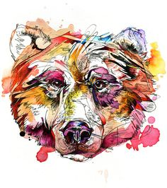 """Vivid Grizzly"" Art Print by Abby Diamond on Society6."