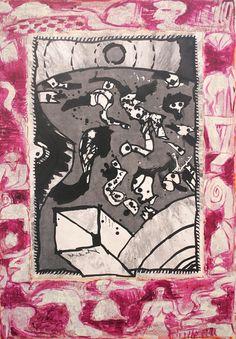 Pierre Alechinsky | Par la cheminée, 1991. Dimension : 150 x 105 cm. Acrylique sur toile. Tachisme, Art Et Illustration, Illustrations, Art Informel, Art Pierre, Amazing Drawings, Naive Art, Art Graphique, Outsider Art