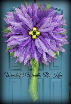 Flower Wreath,deco mesh flower, year round wreath, customized wreath by WonderfulWreathsKim on Etsy https://www.etsy.com/listing/212127356/flower-wreathdeco-mesh-flower-year-round