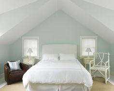 Bedroom Paint + Color Design, Pictures, Remodel, Decor and Ideas - page 2  The paint color is Behr's Delicate Mist, LOVE it with the white bedding, trimwork.