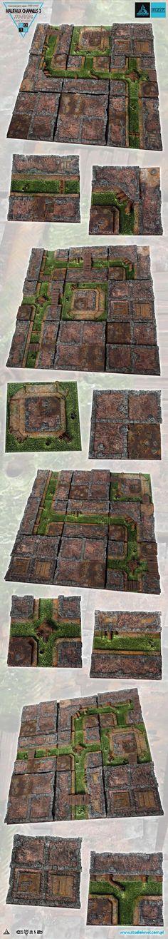 MALIFAUX TOXIC CHANNELS III 48x48 GAMEBOARD scenery terrain surface