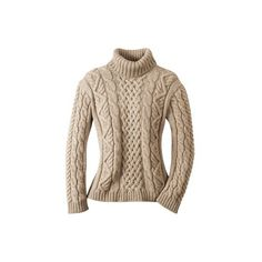 Peregrine Women's Aran Wool Cable Turtleneck ❤ liked on Polyvore