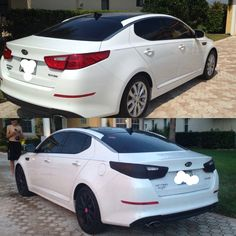2015 Kia Optima ex. Black and pink. Before and after. Loving the way my car turned out. Done by me (: