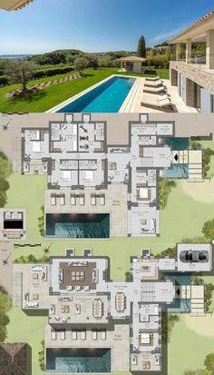 Large Modern House Floor Plans Modern Villa for Sale In Saint Tropez Near Tahiti Beach 430 House Plans Mansion, Sims House Plans, House Layout Plans, Dream House Plans, Modern House Floor Plans, Contemporary House Plans, Villa Plan, Modern Villa Design, House Blueprints