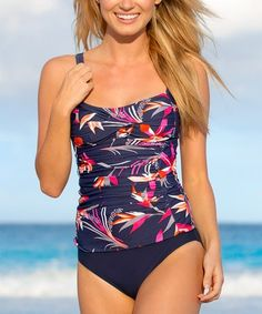 Look what I found on #zulily! Navy & Pink Amalfi Side-Ruched Tankini Top #zulilyfinds