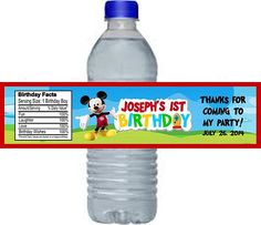 Mickey Mouse Clubhouse Children's Birthday Party Favors Water proof water bottle labels.