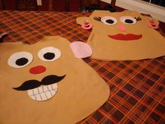 """Mr & Mrs Potato Head - DIY felt halloween costumes...for kids or adults.  Simple seam down both sides with room for arm holes, elmer's glue to attach """"body parts"""""""