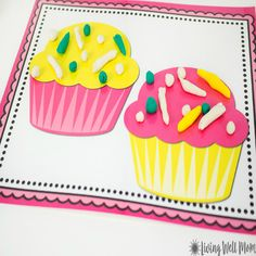 These adorable Cupcake Playdough Mats keep my kids busy for hours as they're inspired with imaginative play, creativity, and even sharing! Get your free printables right here. Sensory Activities For Preschoolers, Playdough Activities, Printable Activities For Kids, Toddler Activities, Toddler Worksheets, Preschool Themes, Therapy Activities, Free Printables, Play Doh Fun