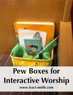 Pew Boxes for Interactive Worship – Traci Smith Church Activities, Bible Activities, Learning Activities, Church Ministry, Youth Ministry, Children Ministry, Ministry Ideas, Ministry Leadership, Worship Bags For Kids
