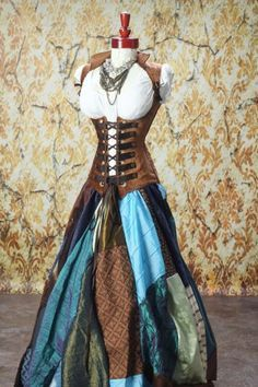 Full Length Patchwork Skirt in Blues and Browns.steampunk Clothing on ArtFire Moda Steampunk, Style Steampunk, Steampunk Cosplay, Steampunk Diy, Steampunk Clothing, Steampunk Fashion, Steampunk Pirate, Steampunk Dress, Gypsy Clothing