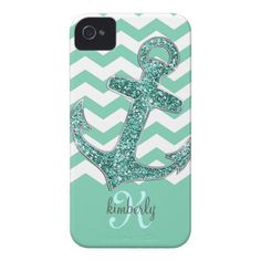 I Like anchors ... Aqua Glitter Anchor White Chevron Personalized iPhone 4 Cases