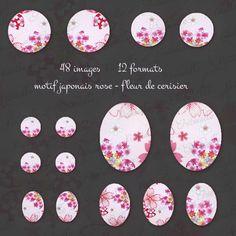 """images digitales pour cabochon """" motif japonais - rose - fleur de cerisier"""" : Images digitales pour bijoux par patouille-et-gribouille"""