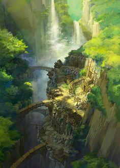 Hidden mine by kim kyeong sik fantasy city, fantasy world, fantasy places, fantasy Fantasy Kunst, Fantasy City, Fantasy Places, Fantasy World, Fantasy Village, Art Village, Fantasy Art Landscapes, Fantasy Landscape, Landscape Art