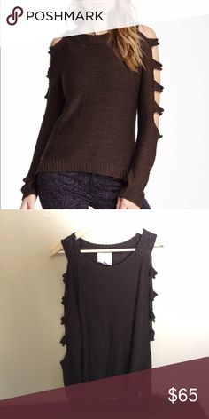 Long Sleeve Cutout Sweater Black coffee colored sweater has cutout sleeves which give this cutie a unique look! Romeo & Juliet Couture Sweaters Crew & Scoop Necks