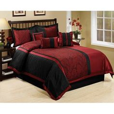 Hig 7 Piece Comforter Set Queen- Burgundy Jacquard Fabric Patchwork-Leticia Bed In A Bag Queen Size- Soft Texture,Good Drapability and Comforter Sets, Comforters, Black Comforter, Comfy Bedding Sets, Red Bedding, King Comforter Sets, Black Comforter Sets, Bed, Red Rooms
