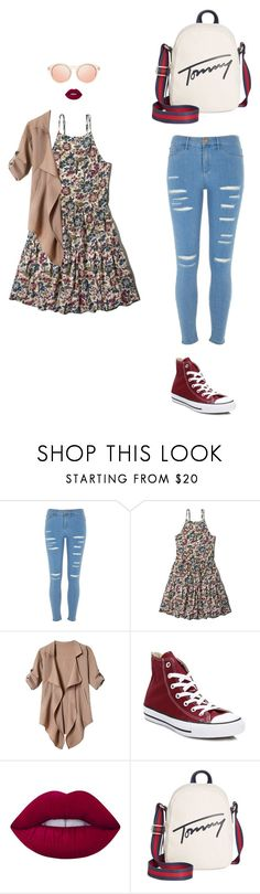 """casual lady"" by leina-elansary on Polyvore featuring River Island, Abercrombie & Fitch, Converse, Lime Crime, Tommy Hilfiger and Le Specs"