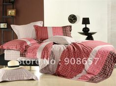 Aliexpress.com : Buy Alternative Comforter covers Quality Satin Fabric red coffee lattice modern pattern Queen bed in a bag sets 4 pcs home ...