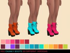 Chunky Boots by midnightskysims at SimsWorkshop via Sims 4 Updates