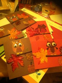 Owl fall homemade card