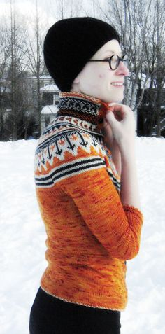 Oranje fair isle cardigan // by Ann Weaver // Knitty Winter 2011 Free Knitting, Knitting Patterns, Icelandic Sweaters, Knitting Magazine, Stockinette, Drops Design, Fall Sweaters, Knots, Free Pattern