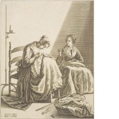 Geertruydt Roghman, artist  baptized 1625, died before 1657 Two Young Women Sewing, before 1650