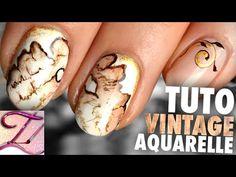 Tuto nail art vintage effet papier brûlé en aquarelle - YouTube