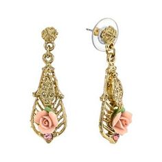 1928 Porcelain Rose Filigree Drop Earrings