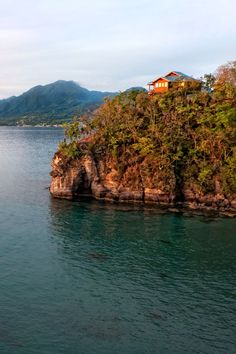 The luxury villas situated on the cliffs of Secret Bay. Dominica