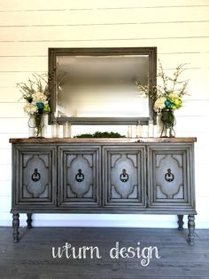 Vintage grey buffet
