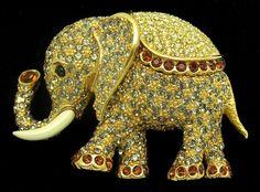 Vintage CINER Figural Large Elephant Brooch Pin Rhinestones Enamel from babsdelights on Ruby Lane