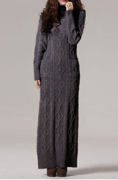 Fashionable Turtleneck Long Sleeve Solid Color Knitted Dress For Women