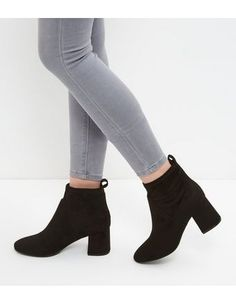Black Suedette Flared Block Heel Ankle Boots | New Look