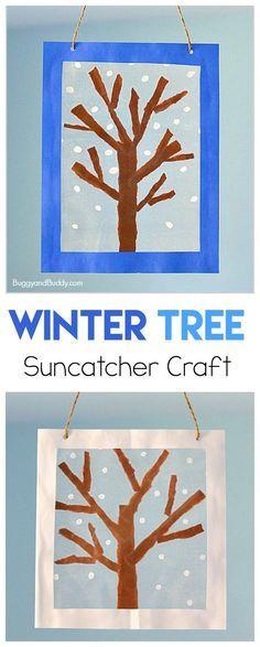 Kids Crafts Winter Art Projects - Winter Tree Suncatcher Craft Using Tear Art. Winter Activities For Kids, Winter Crafts For Kids, Art For Kids, Preschool Winter, Christmas Activities, Snow Crafts, Tree Crafts, Christmas Crafts, Kids Christmas