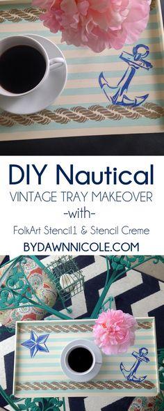 DIY Nautical Vintage TV/Serving Tray Makeover #plaidcrafts