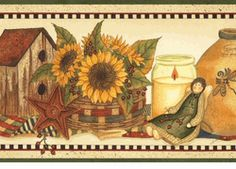 Sunflower Crocks Wallpaper Border CLEARANCE!! QUANTITIES LIMITED!! Primitive  ...