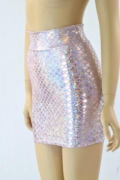 Silver & Pink Mermaid Scale Bodycon Mini Skirt 151602