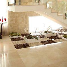 Small garden under stairs. Inside Garden, Above Ground Garden, Small Garden Under Stairs, 360 Design, Design Ideas, Modern Mansion, Staircase Design, Stair Design, Interior Garden