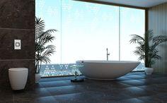 A bath with great view in a contemporary bathroom - homeyou ideas Chic Bathrooms, Amazing Bathrooms, Window Films, Great View, Contemporary Interior, Decor Styles, Interior Design, Bathroom Ideas, Shower Bathroom