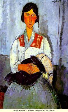 Amedeo Modigliani. Gypsy Woman with Child. Olga's Gallery.